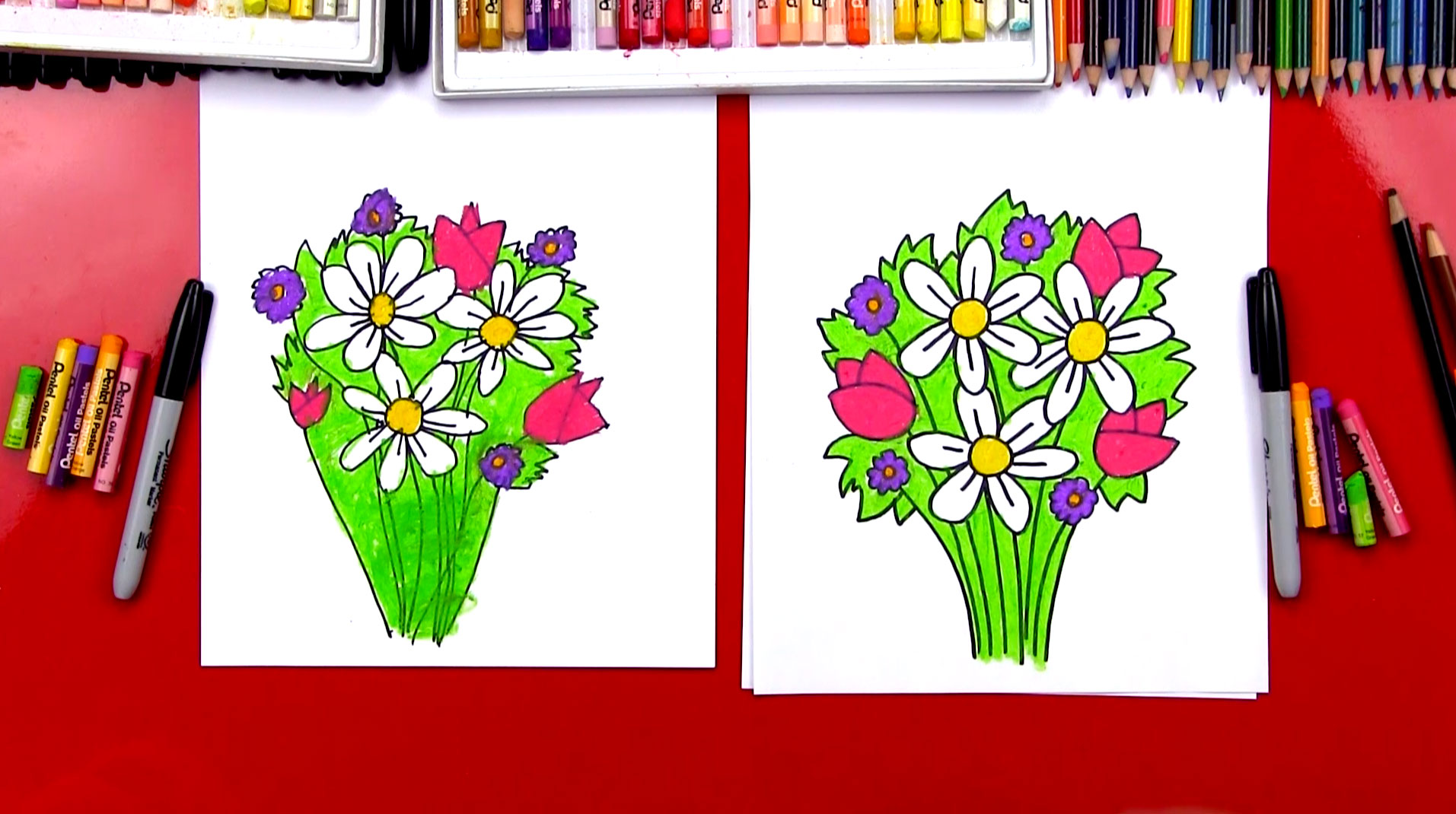 How to draw a flower bouquet art for kids hub izmirmasajfo