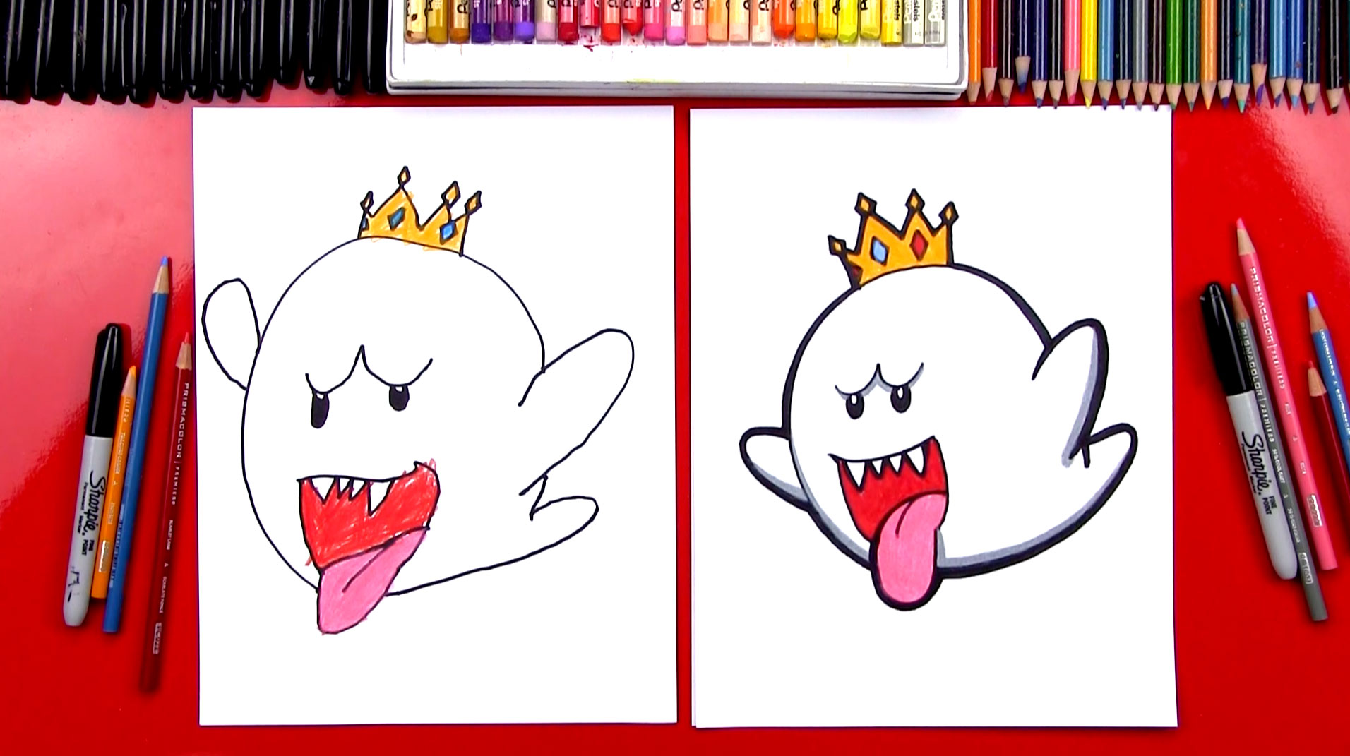 how to draw king boo from mario art for kids hub