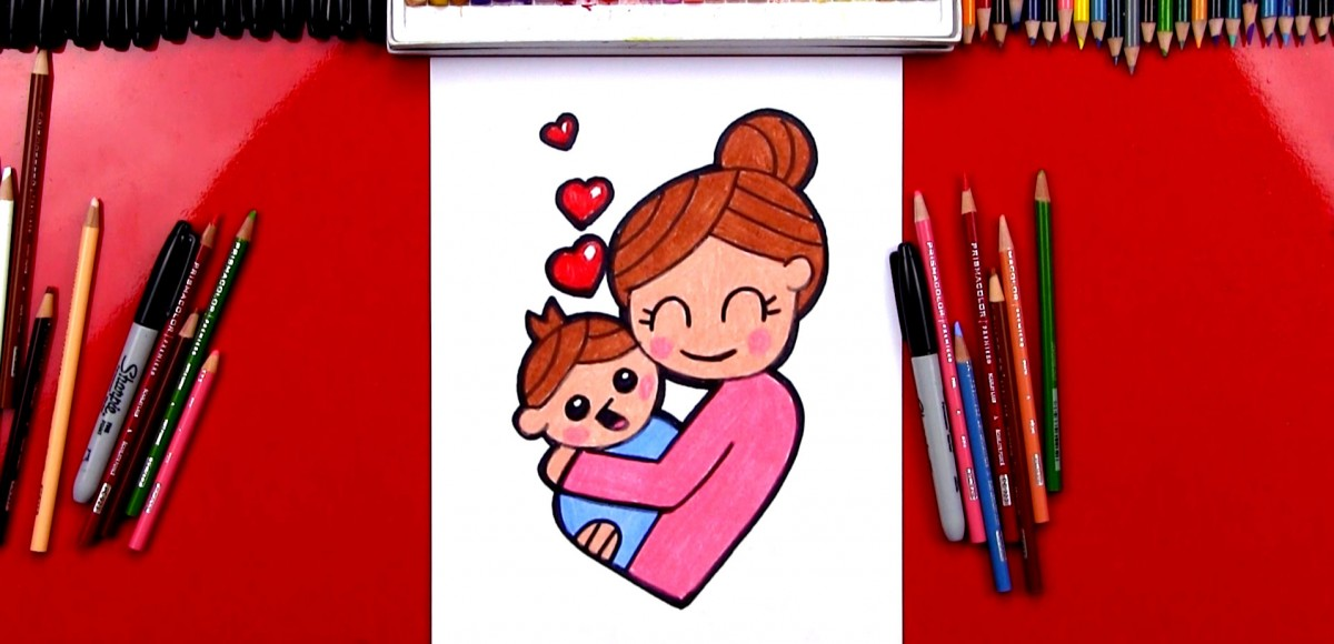 How To Draw A Mother Hugging A Baby
