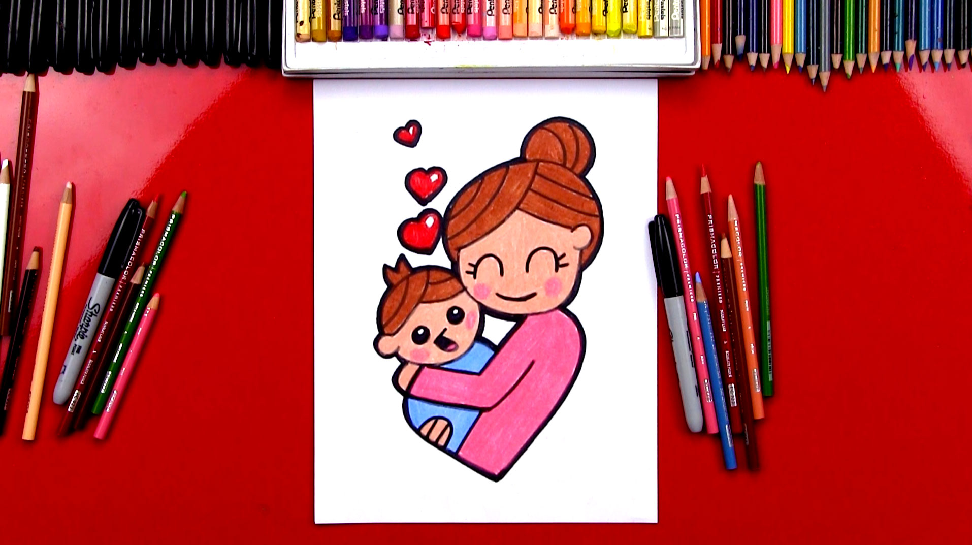How To Draw A Mother Hugging A Baby Art For Kids Hub