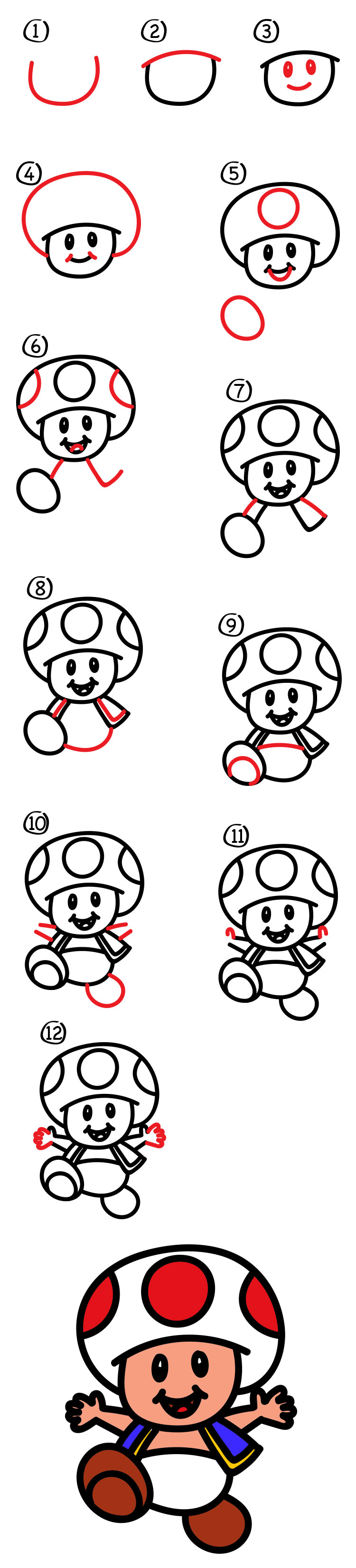 How To Draw Toad From Mario With Body - Art For Kids Hub