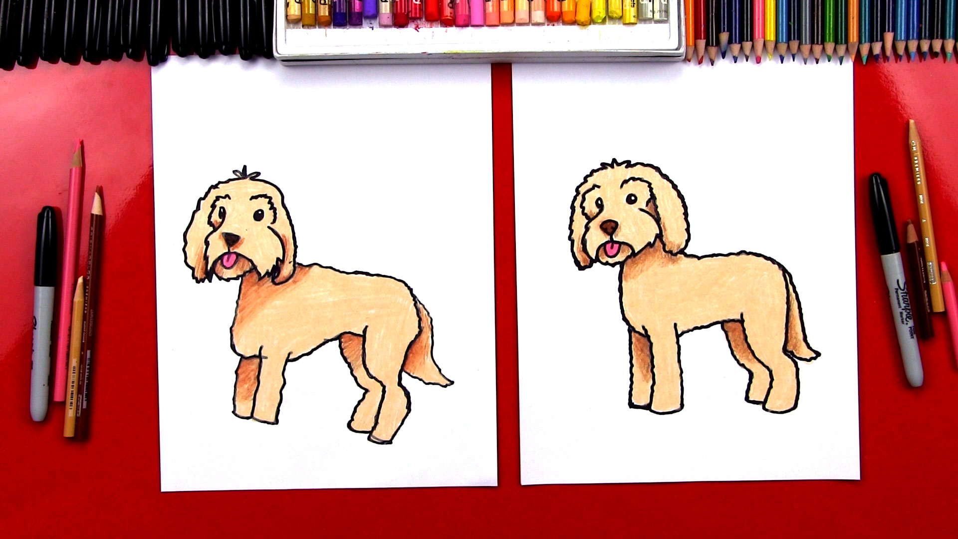 How To Draw A Goldendoodle Art For Kids Hub