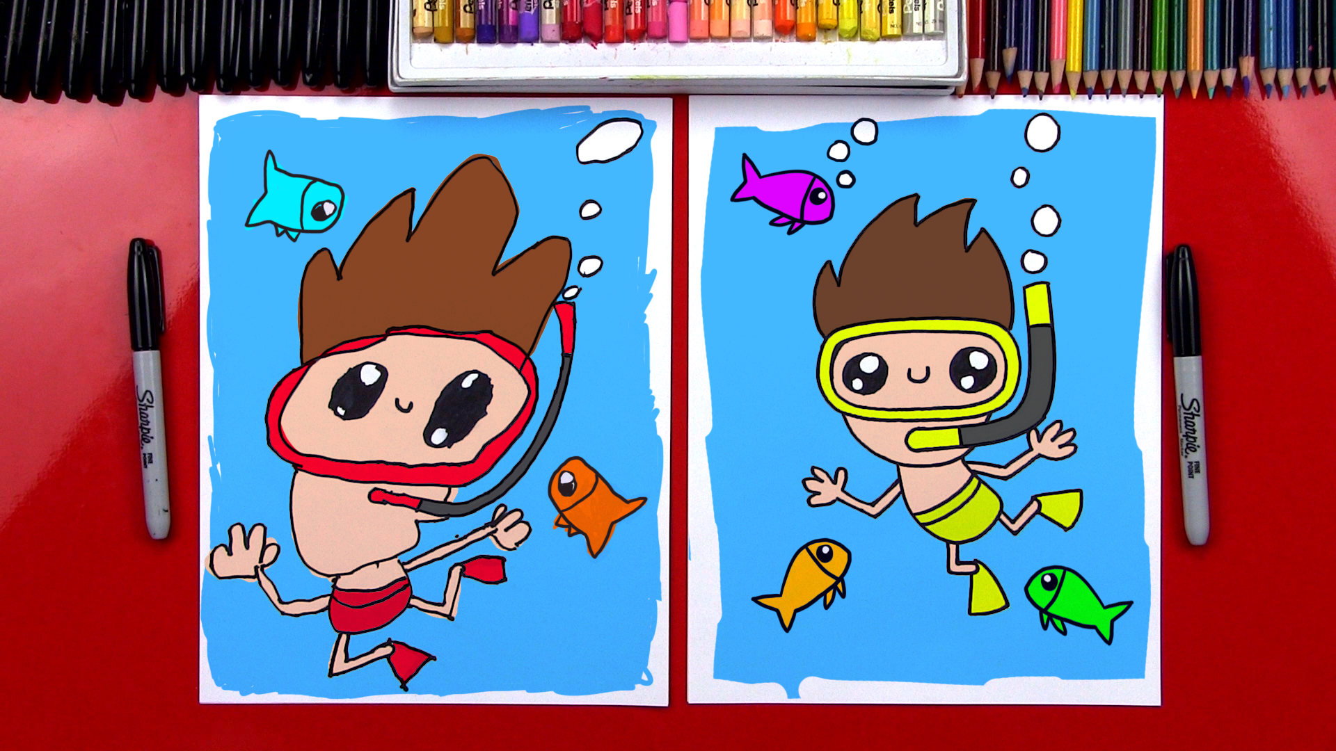 How To Draw A Cartoon Swimmer Art For Kids Hub
