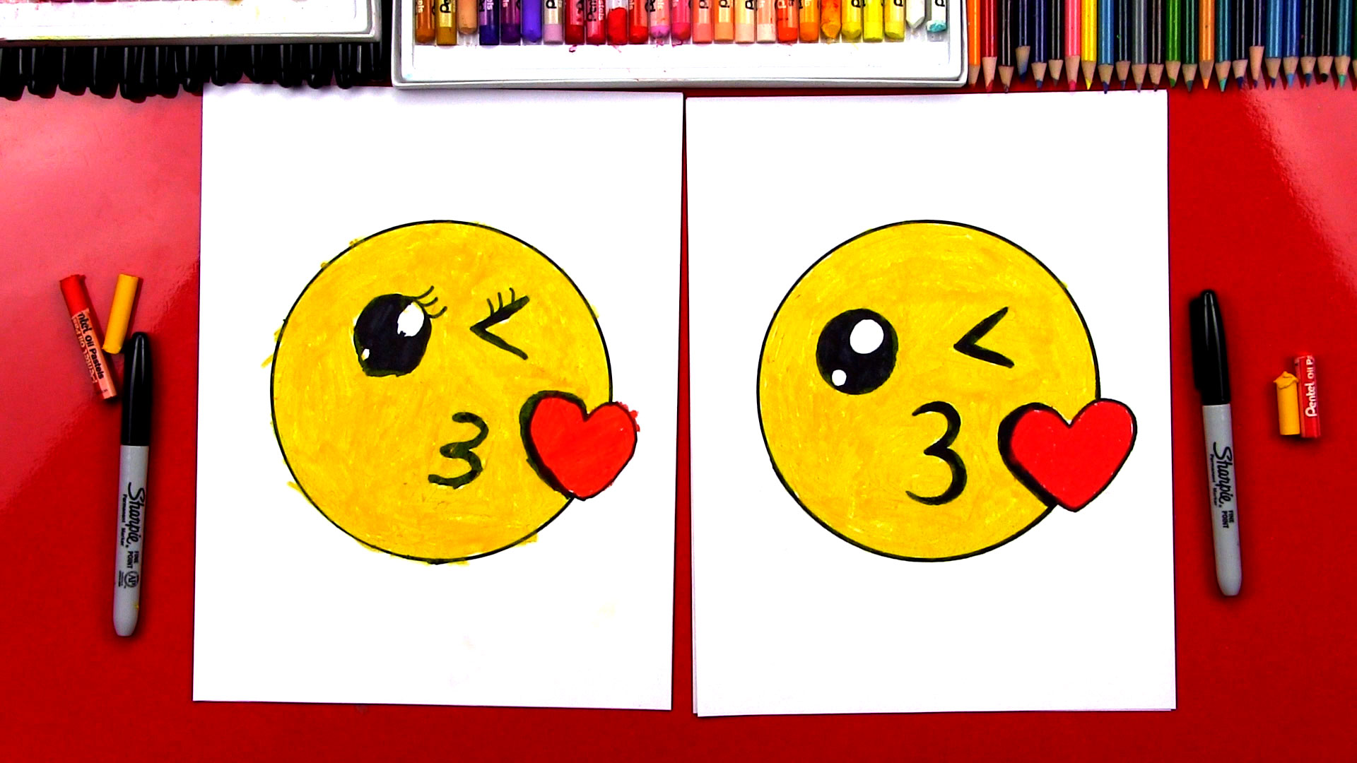 how to draw the kissing emoji art for kids hub