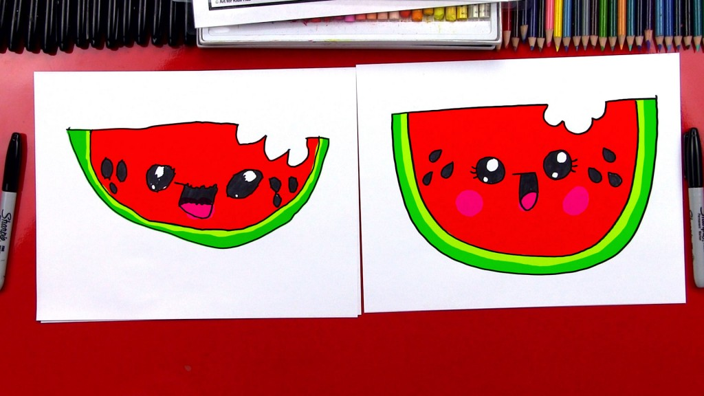 How To Draw A Cartoon Watermelon
