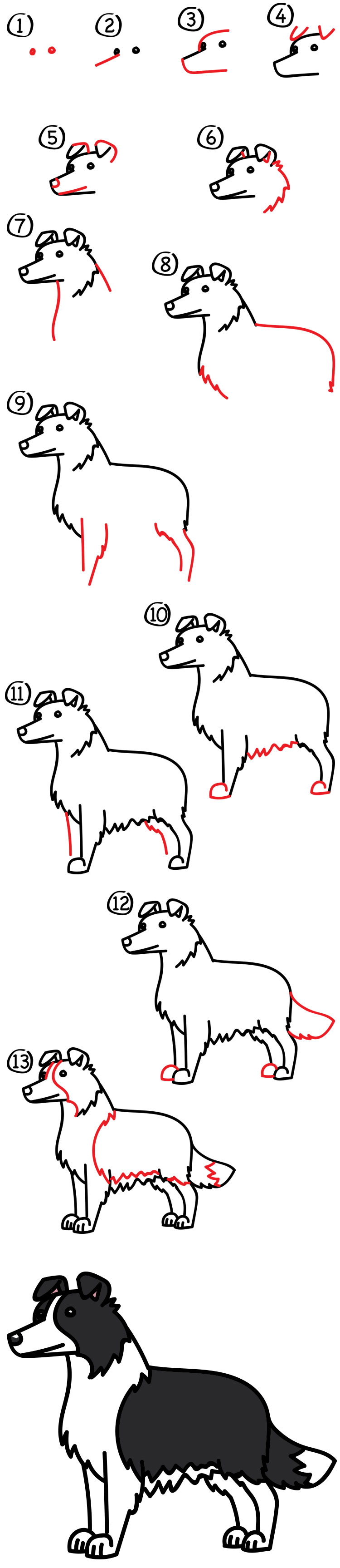 how to draw a border collie art for kids hub