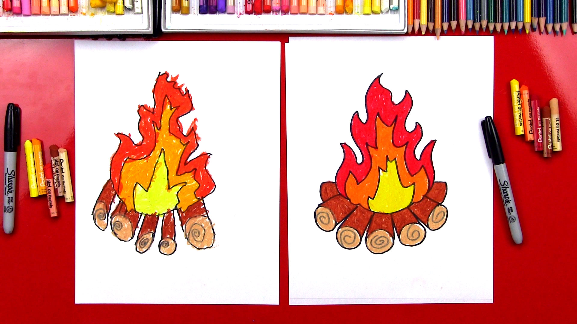 how to draw a campfire wikihow
