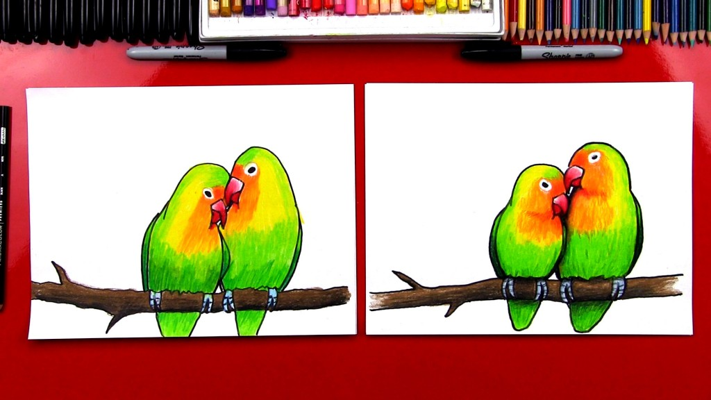 How to draw lovebirds