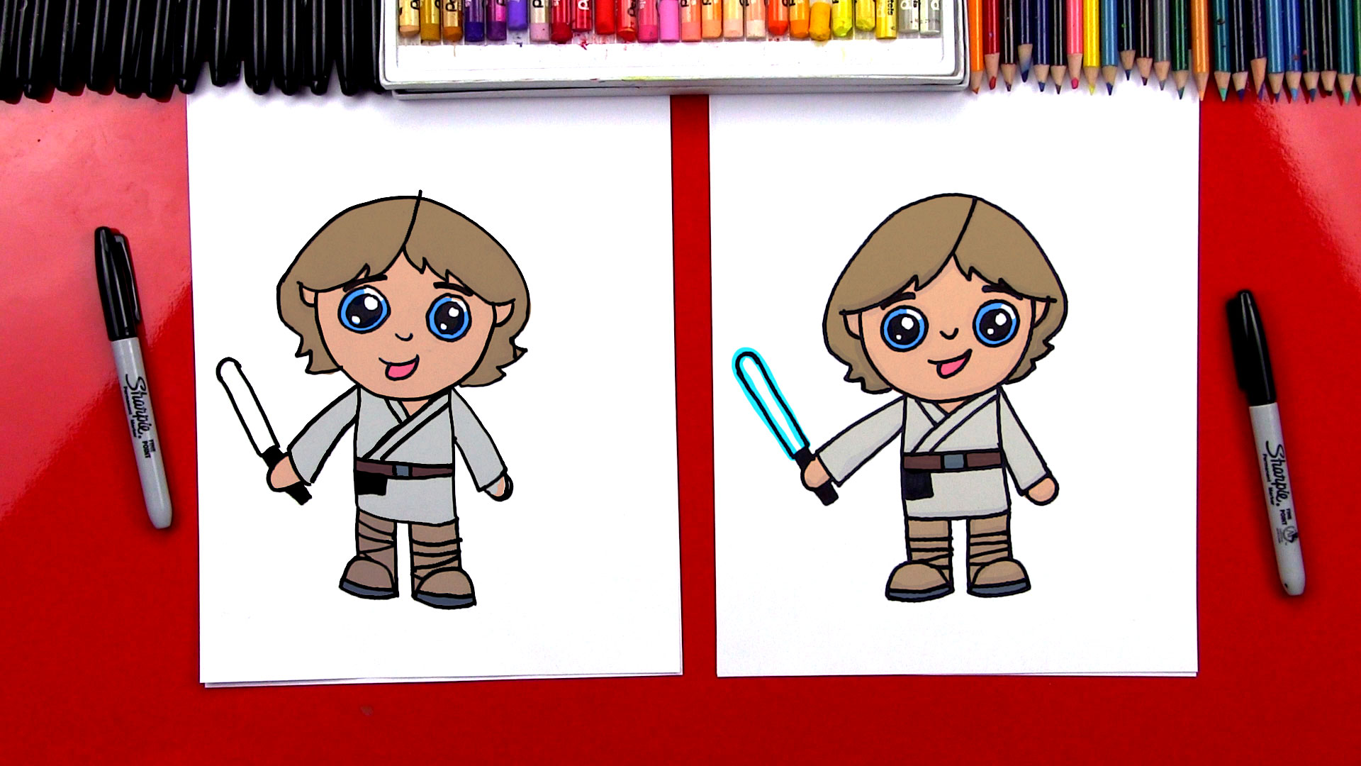 How To Draw Luke Skywalker Cartoon