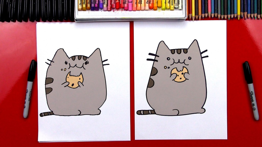 How To Draw The Pusheen Cat Eating A Cookie *GIVEAWAY*