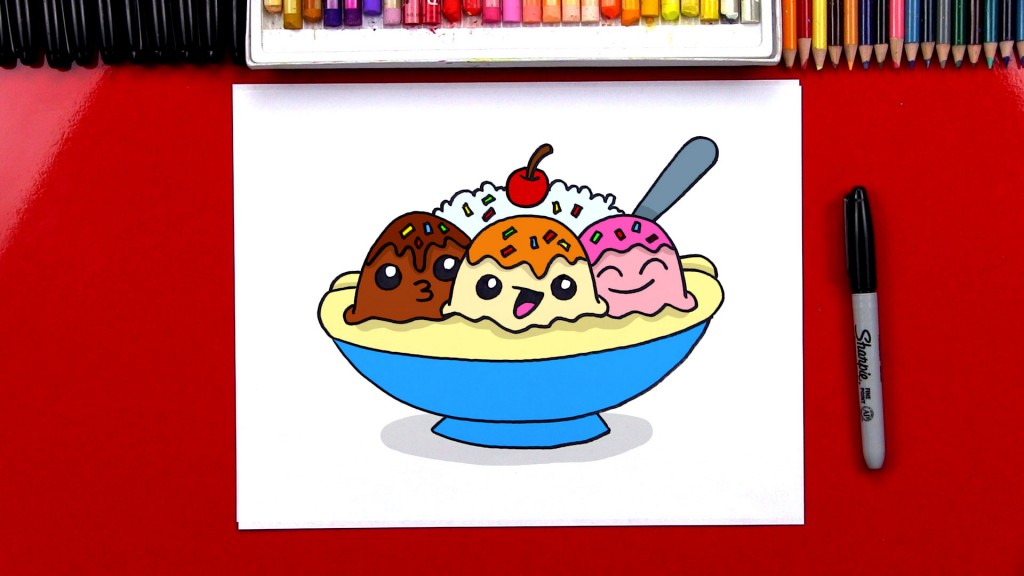 How To Draw A Banana Split Cartoon