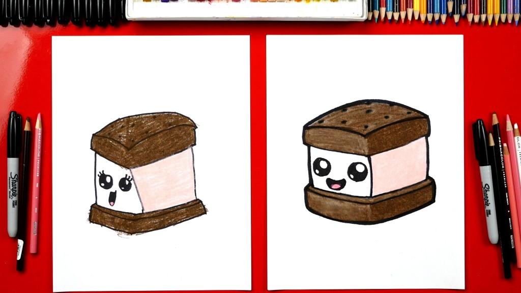How To Draw An Ice Cream Sandwich