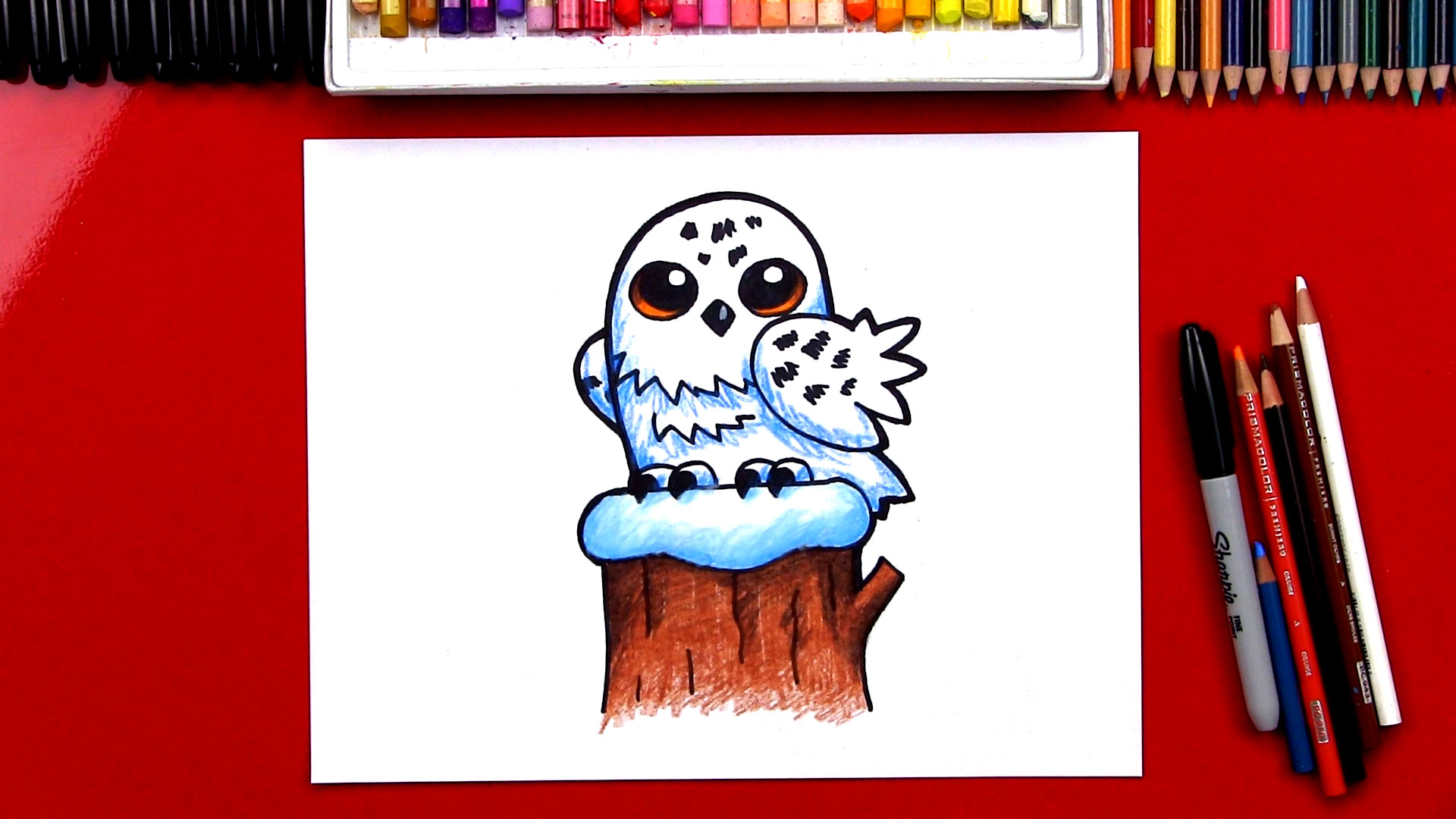 How To Draw A Snowy Owl Cartoon