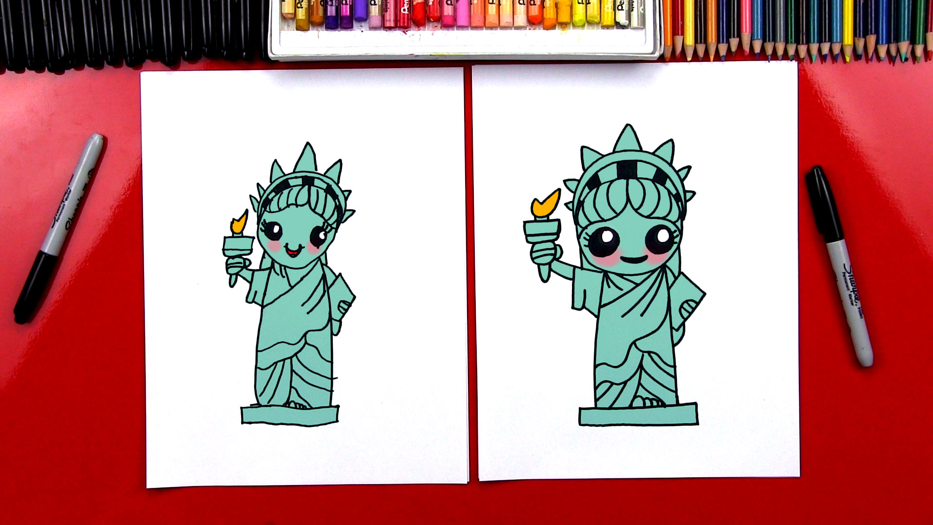 how to draw the statue of liberty art for kids hub