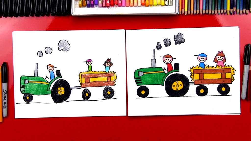 How To Draw A Tractor Hayride