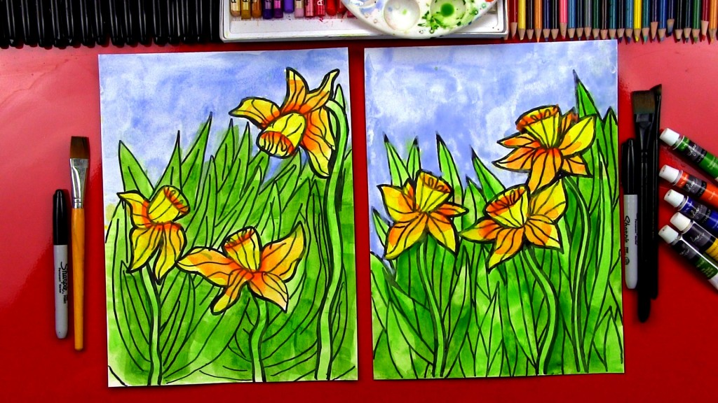 how to paint daffodils with watercolor