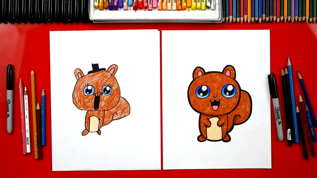How To Draw A Cartoon Squirrel