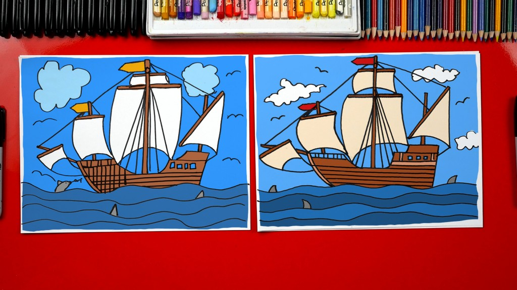 How To Draw A Pilgrim (Pirate) Ship