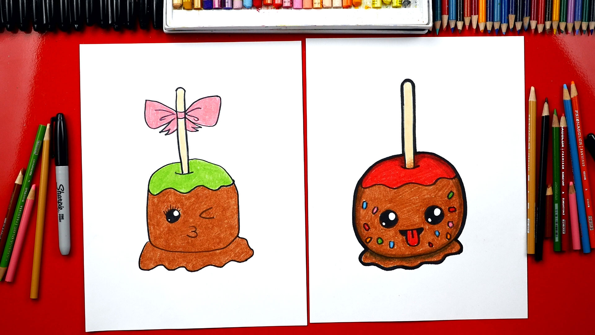 How To Draw A Candy Apple Art For Kids Hub