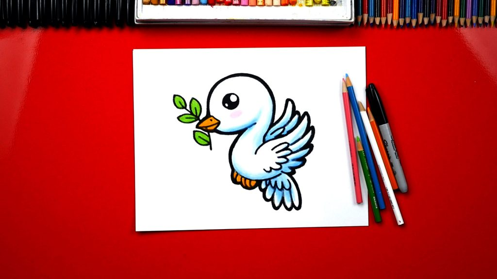 How To Draw A Dove And Olive Branch