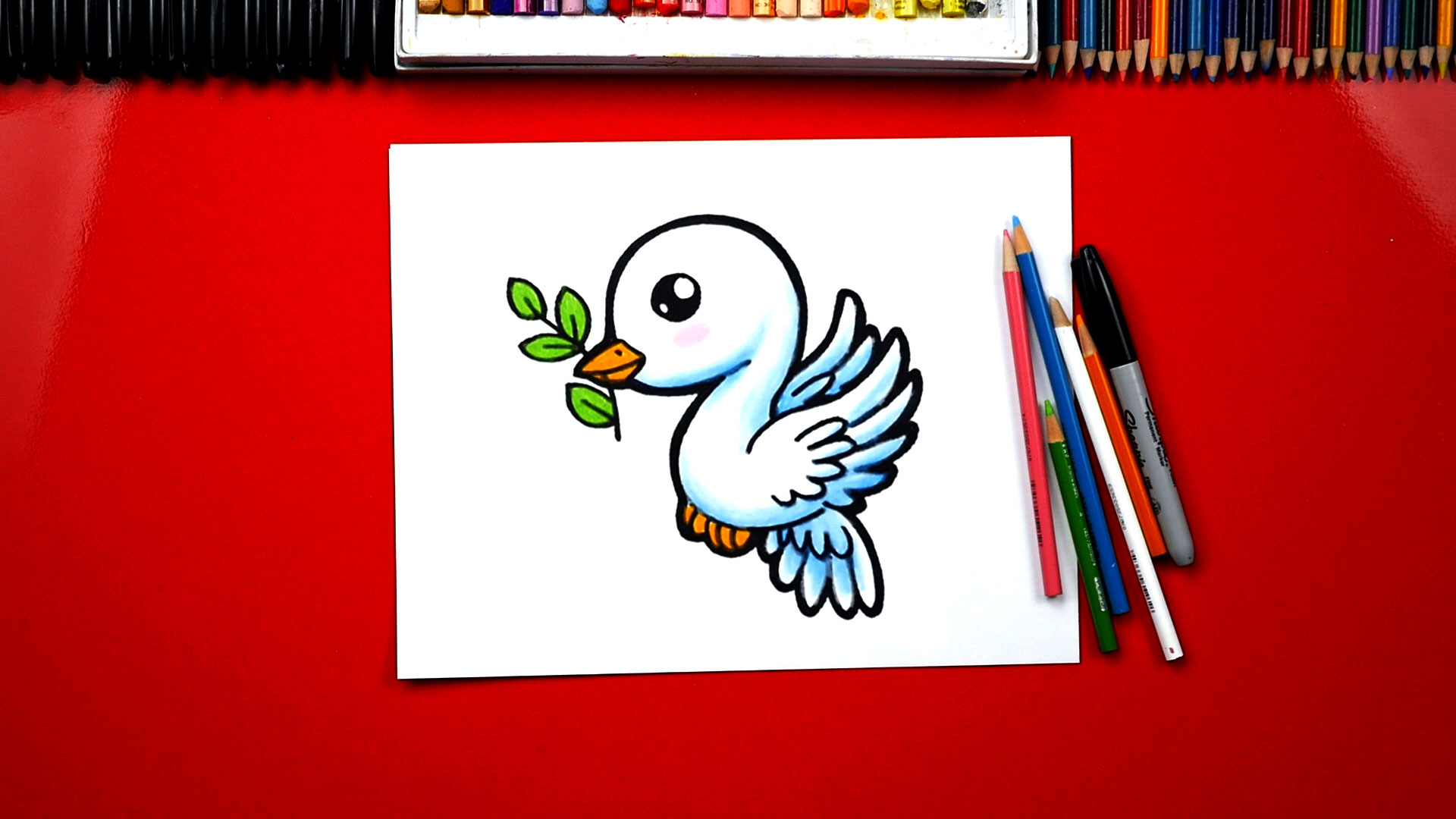How To Draw A Dove And Olive Branch Art For Kids Hub