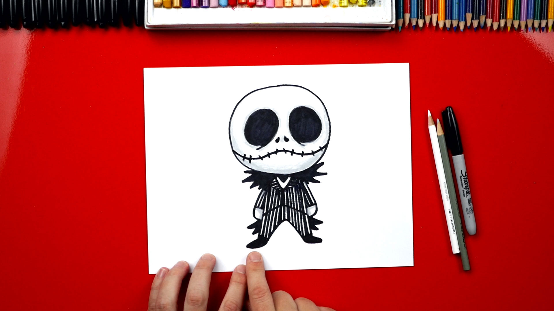 how to draw cartoon jack skellington art for kids hub