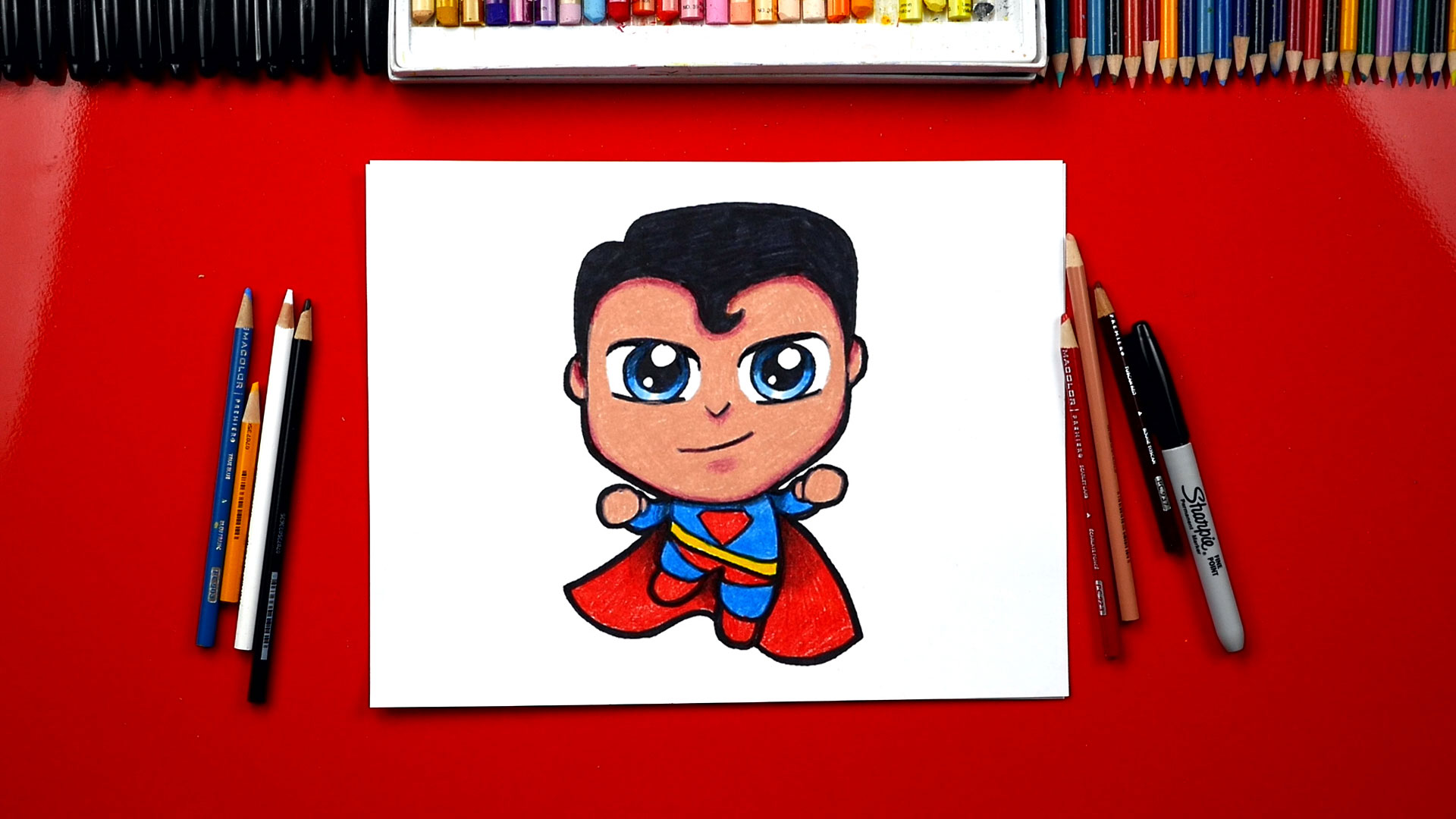 How To Draw Cartoon Superman Art For Kids Hub