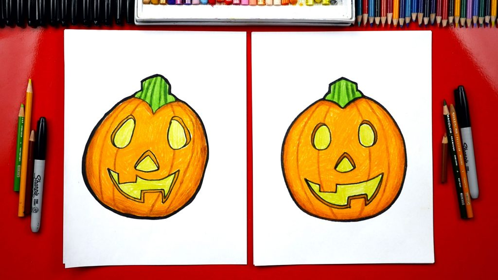 how to draw a pumpkin for kids