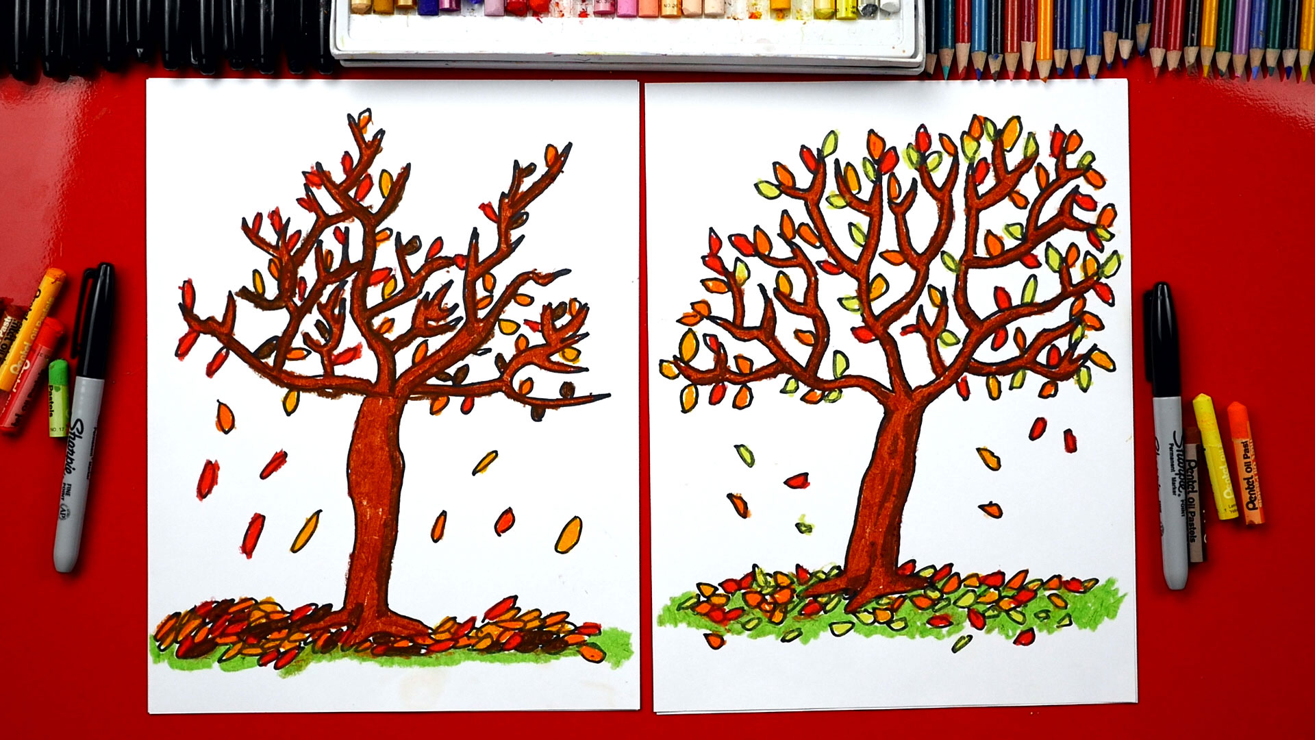 How To Draw A Fall Tree Art For Kids Hub
