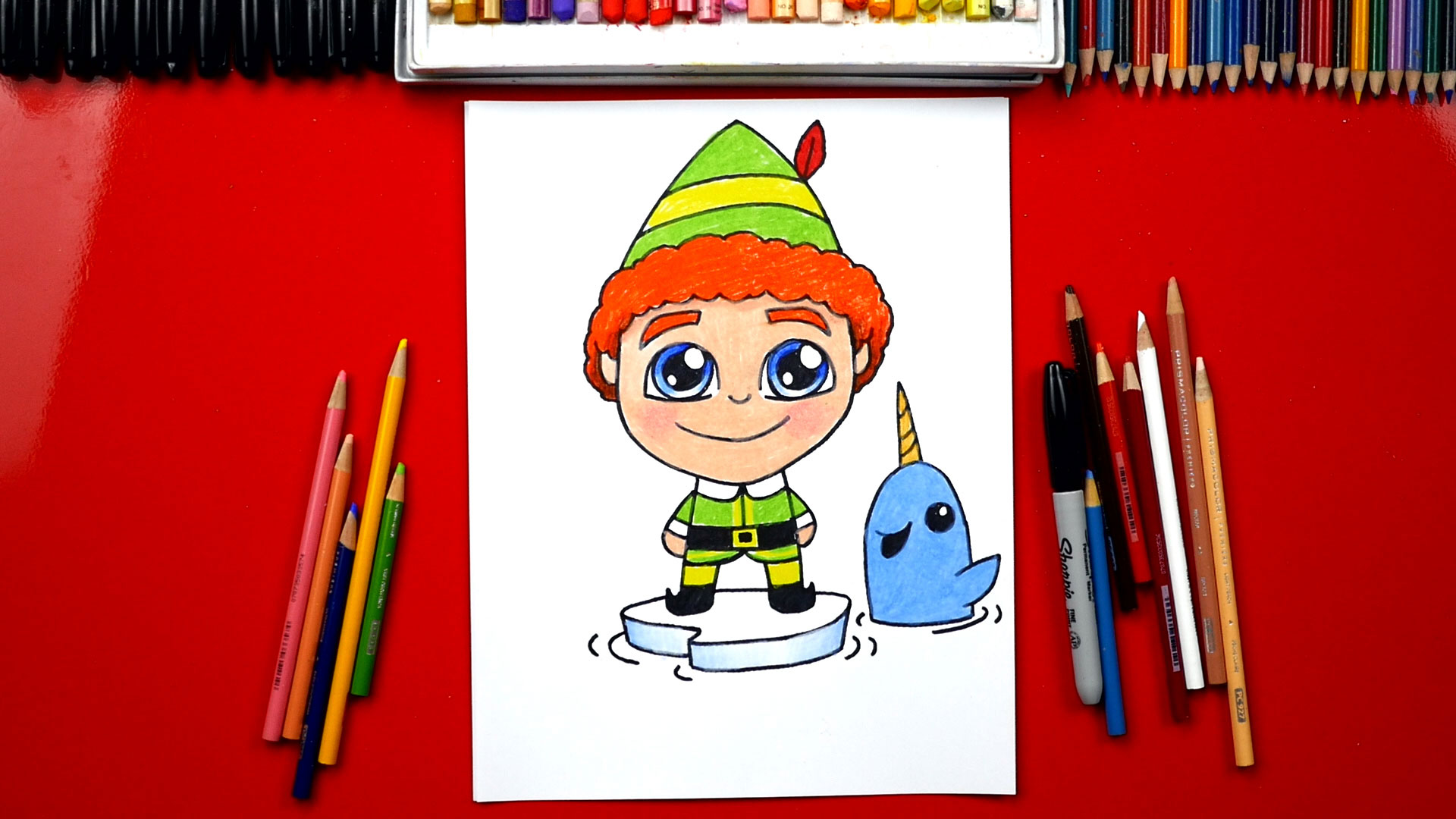 how to draw buddy the elf and mr narwhal art for kids hub