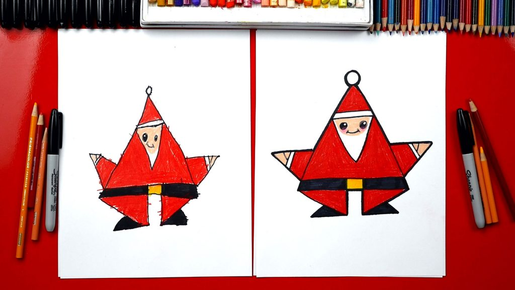 How To Draw Shape Santa (for young artists)