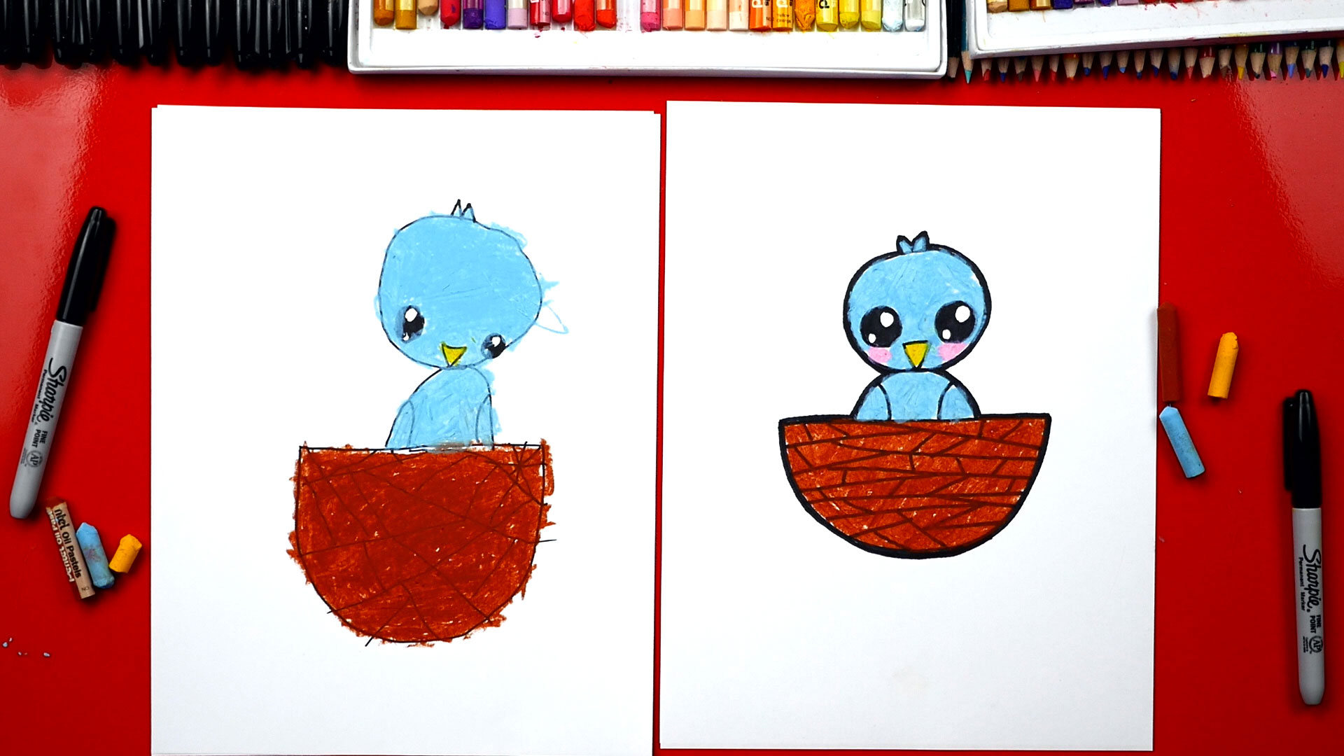 How To Draw A Baby Bird With Shapes Art For Kids Hub