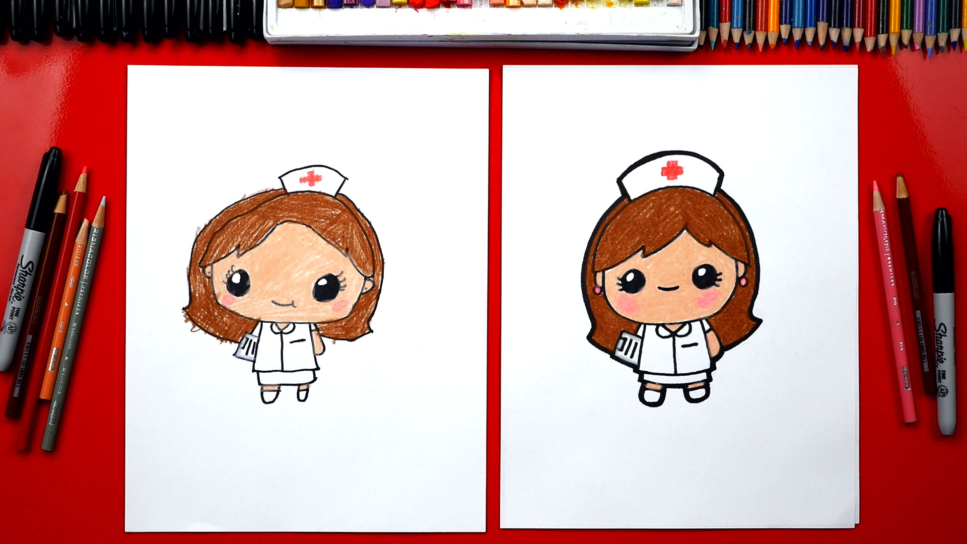 How to draw a cartoon nurse