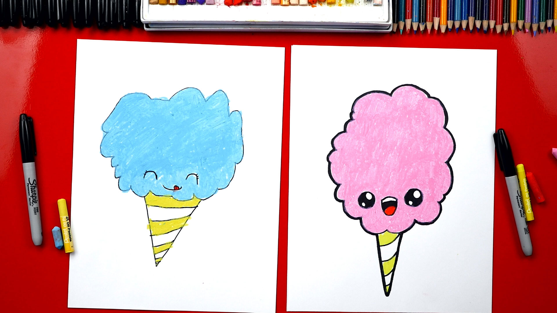 How To Draw Cartoon Cotton Candy Art For Kids Hub
