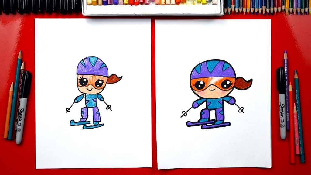 How To Draw A Cartoon Snow Skier