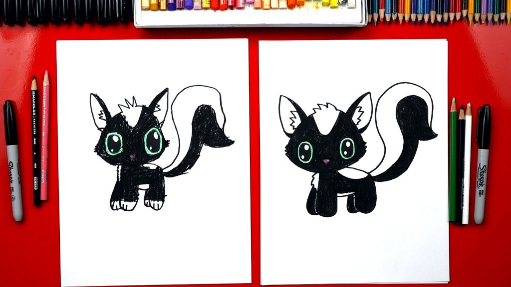 How To Draw A Cartoon Skunk