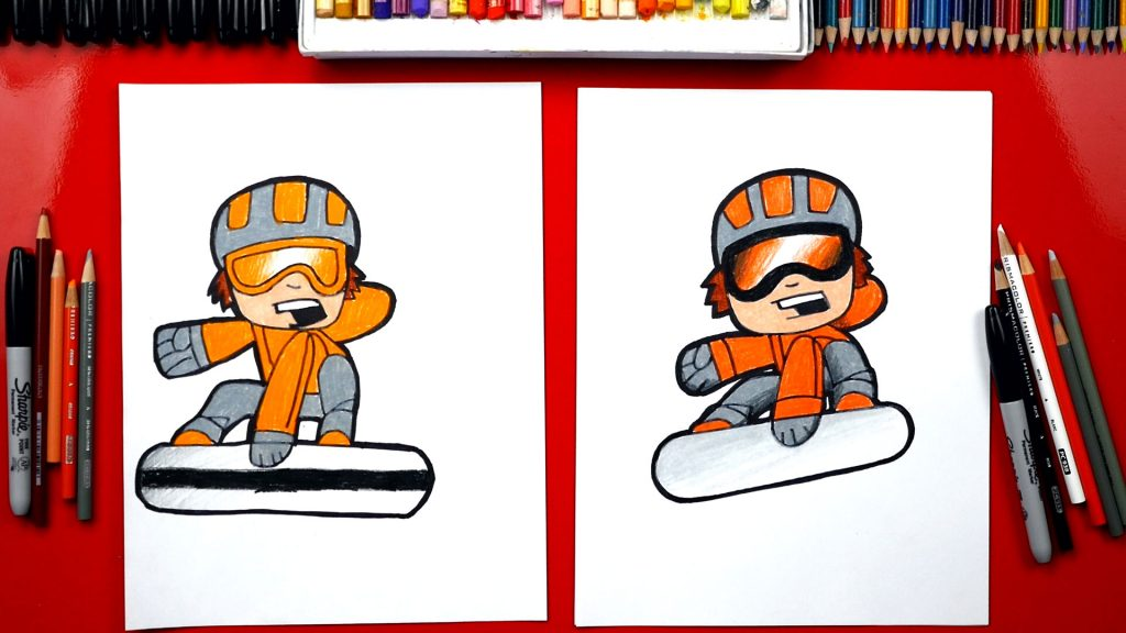 How To Draw A Cartoon Snowboarder