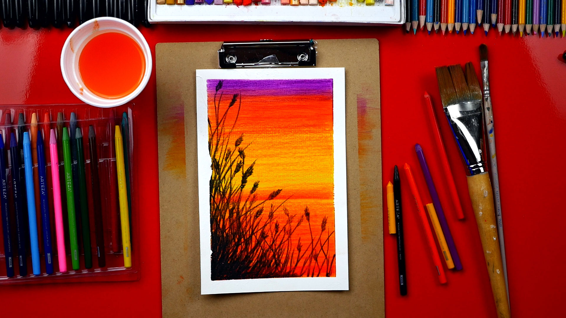 How To Use Watercolor Pencils To Paint A Beautiful Sunset