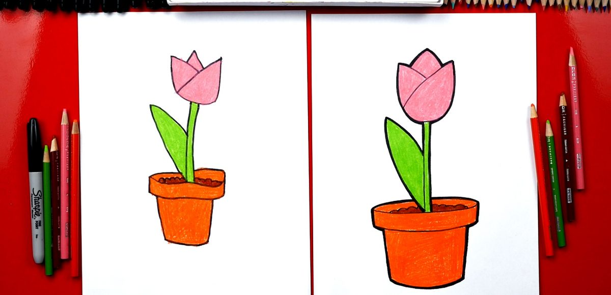 How To Draw A Tulip In A Pot – Plant A Flower Day