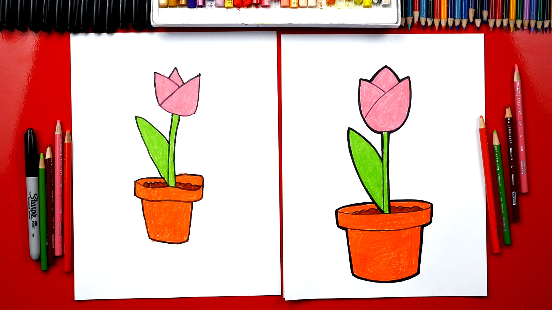 how to draw a tulip in a pot plant a flower day art for kids hub