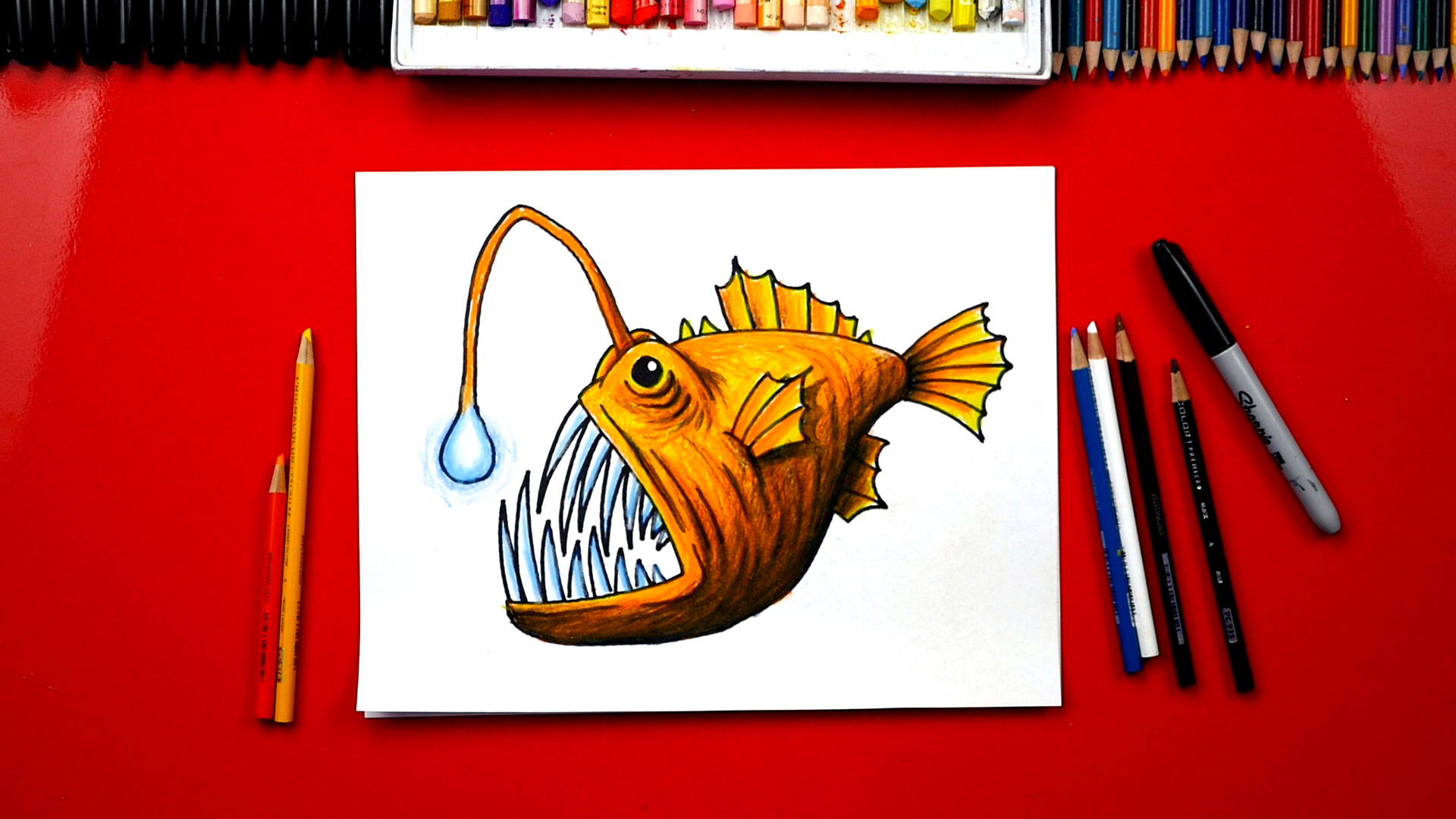 How To Draw An Anglerfish - Art For Kids Hub -