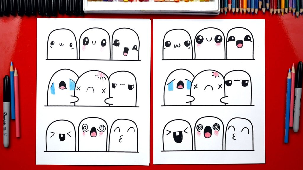 How To Draw 9 Different Kawaii Faces