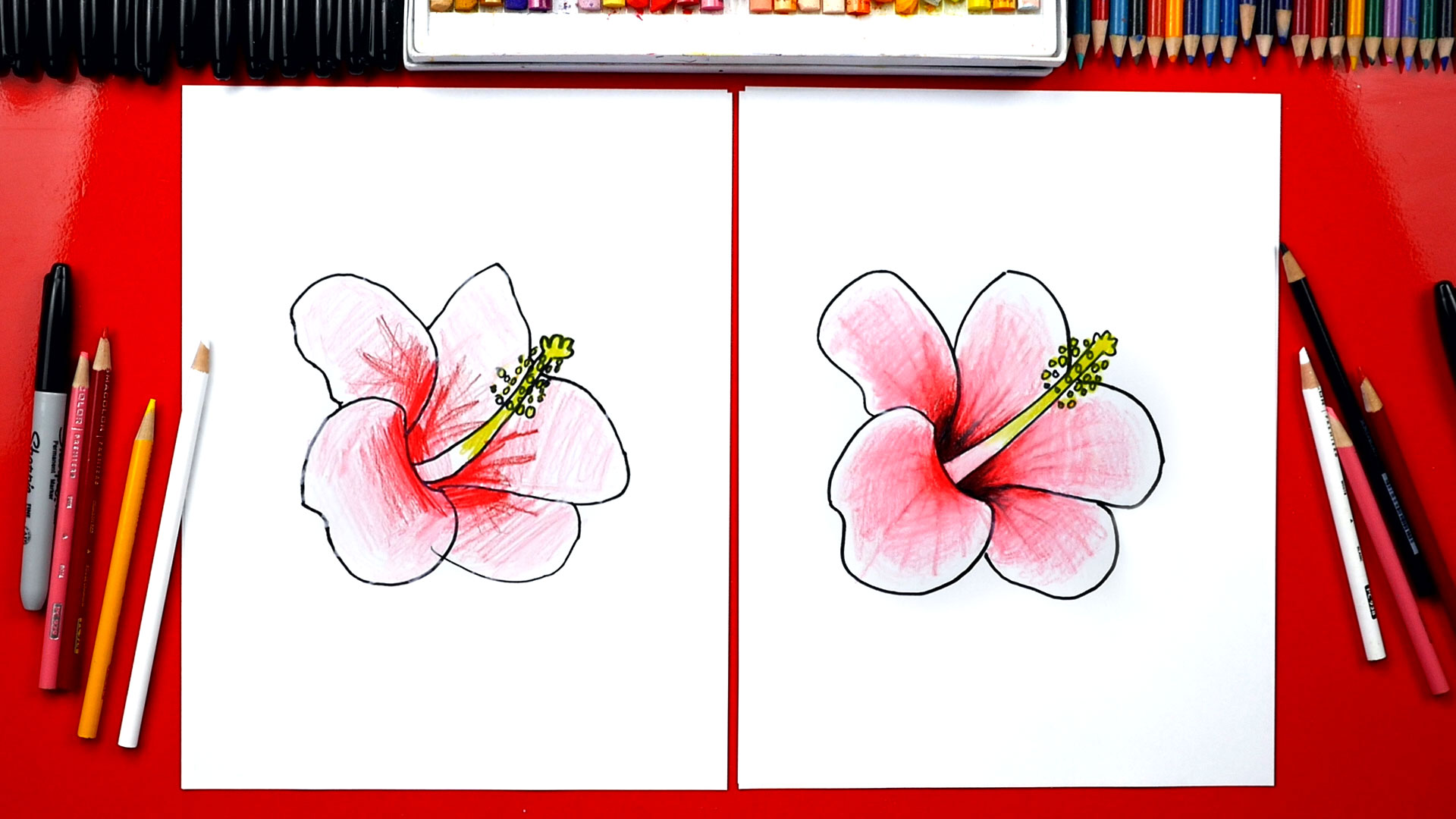 How To Draw A Hibiscus Flower Art For Kids Hub