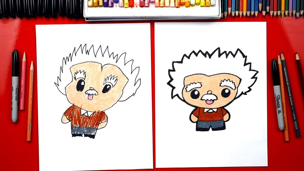 How To Draw Albert Einstein Cartoon