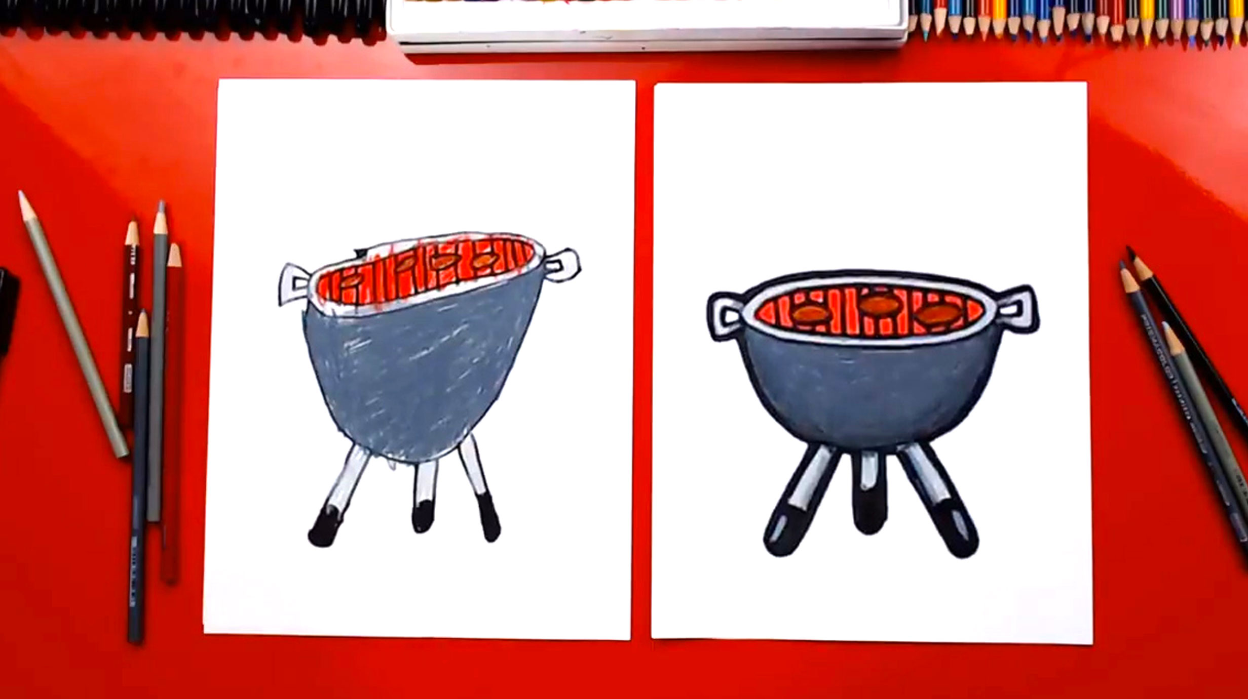 How To Draw A BBQ Grill - Art For Kids Hub
