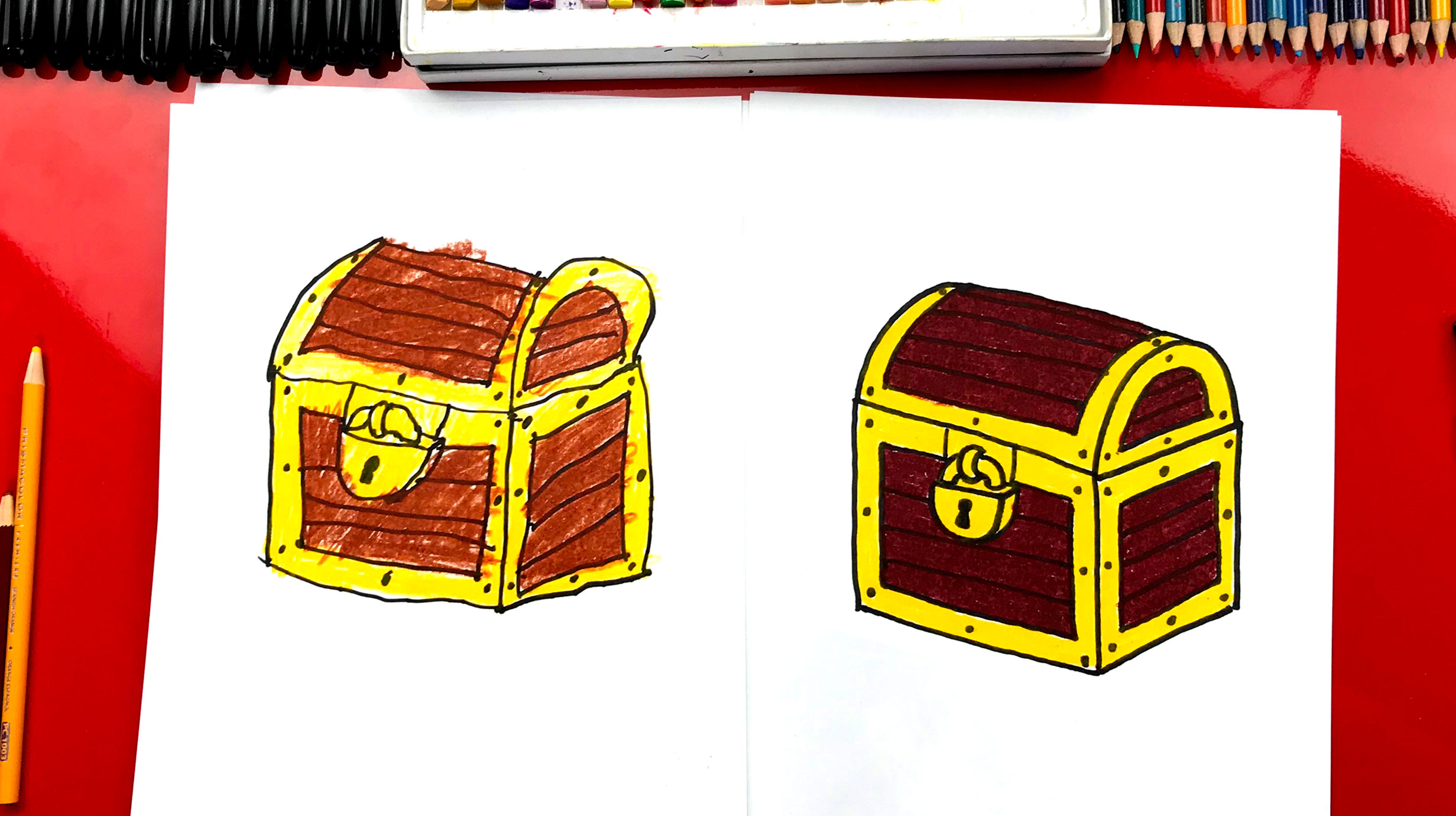 Simple Cardboard Pirate Treasure Chest Gift Box : 6 Steps (with ... | 1381x2463