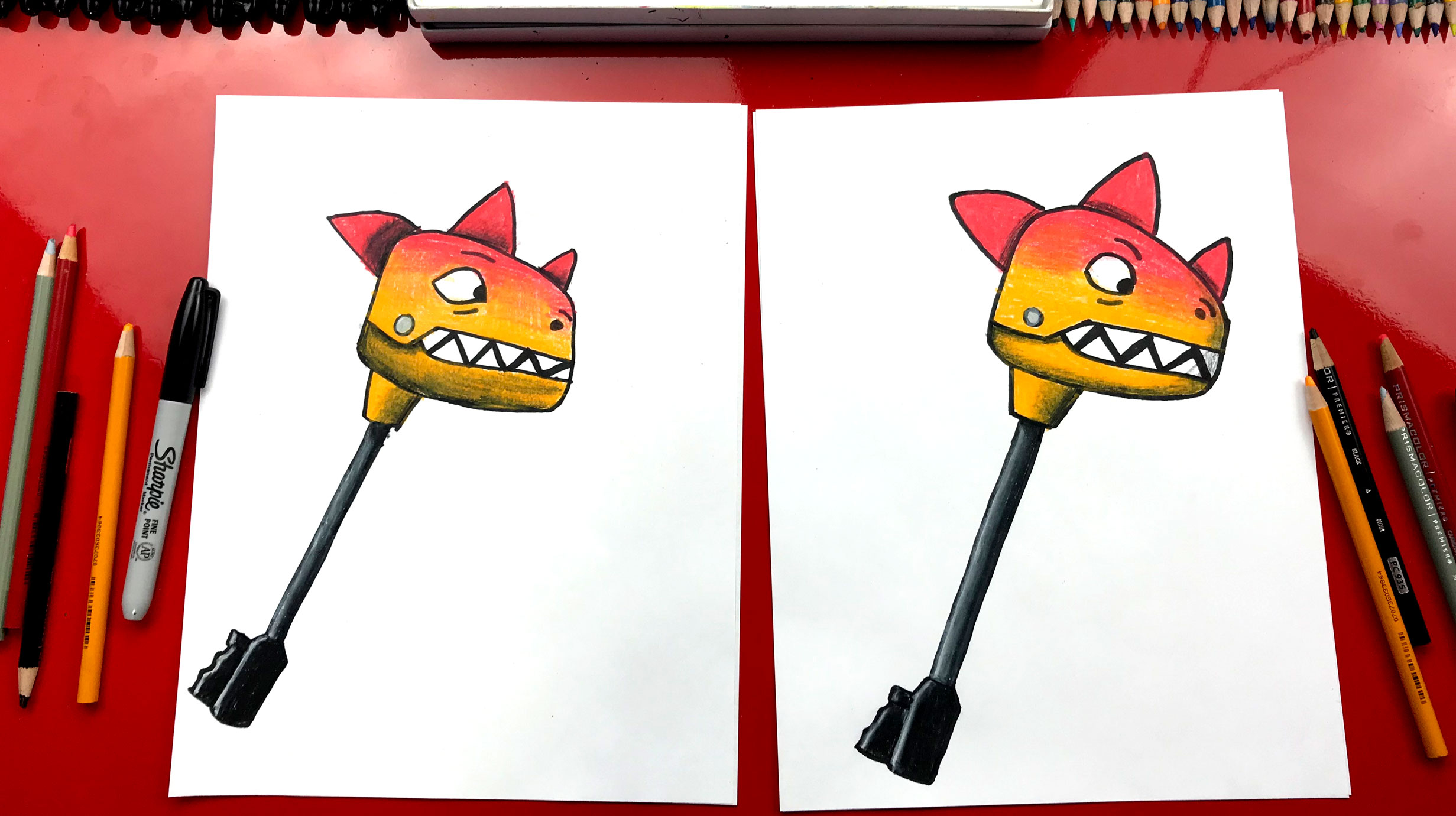 How To Draw Fortnite Bitemark Pickaxe Art For Kids Hub