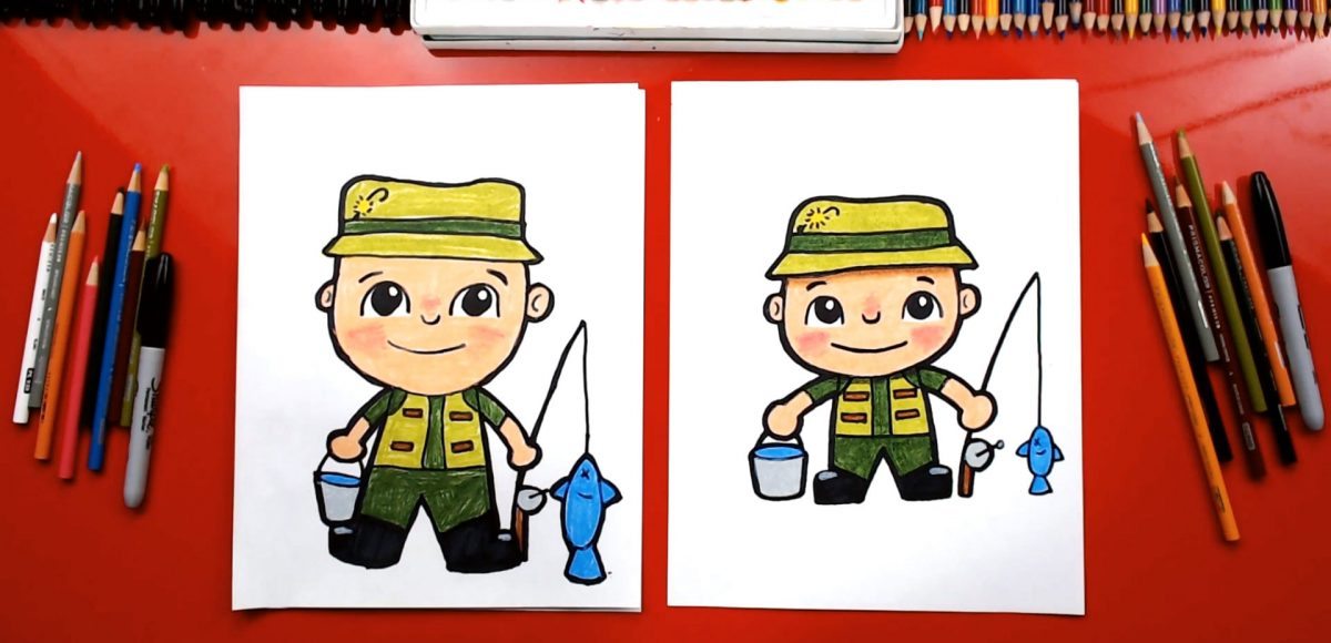 How To Draw A Fisherman For Father's Day