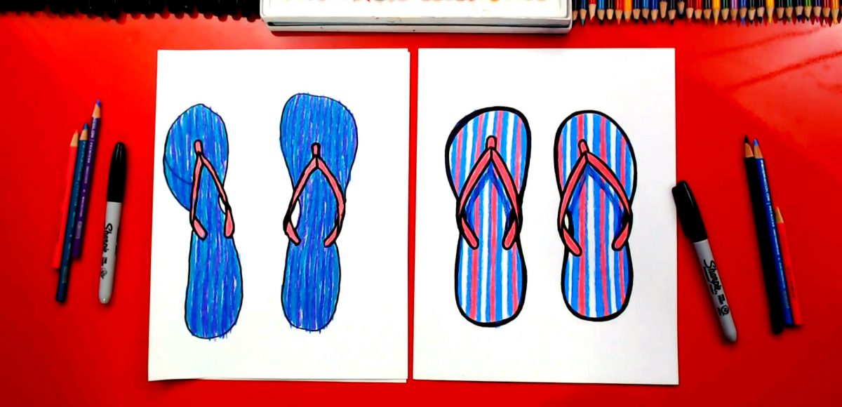How To Draw Flip-Flop Sandals