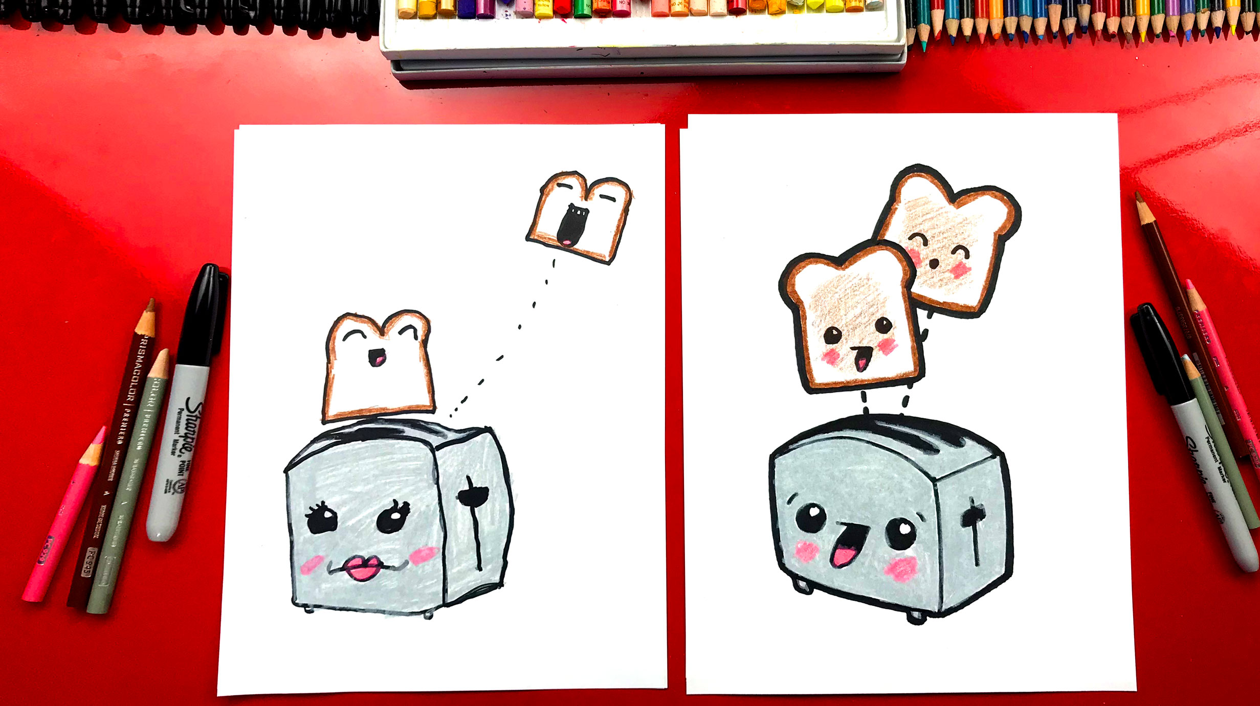 How To Draw Funny Toast And Toaster - Art For Kids Hub